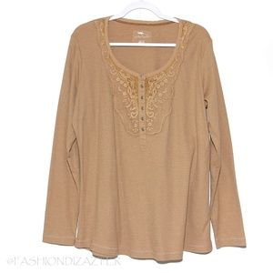 Bob Timberlake thermal type tee with lace Size XL